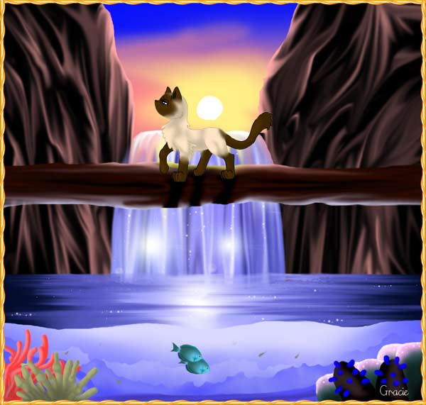 Siamese Cat and Waterfall Original Painting Computer Graphic Art Artwork Grace Sapp