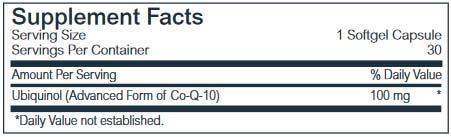 Life Plus Ubiquinol 100 -Advanced Co-Q-10 Co-Enzyme Formula