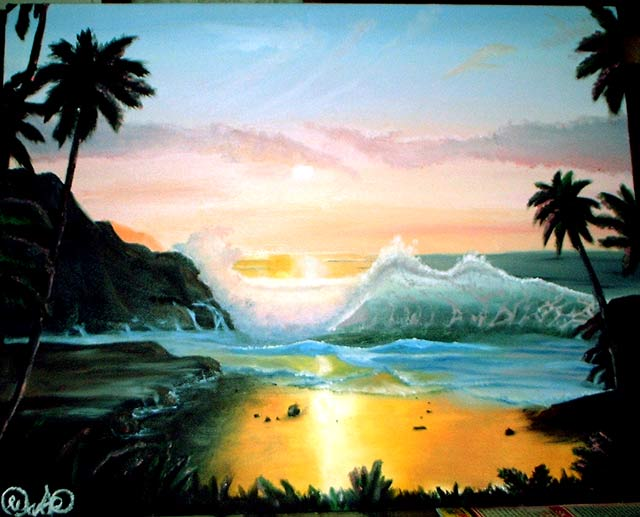 hawaii beach wallpaper. Hawaii Beach Artwork Oil
