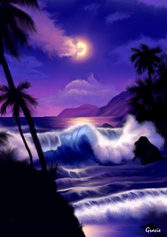 Hawaii Moon Artwork Computer Graphic Online Art Gallery Painting Grace Sapp