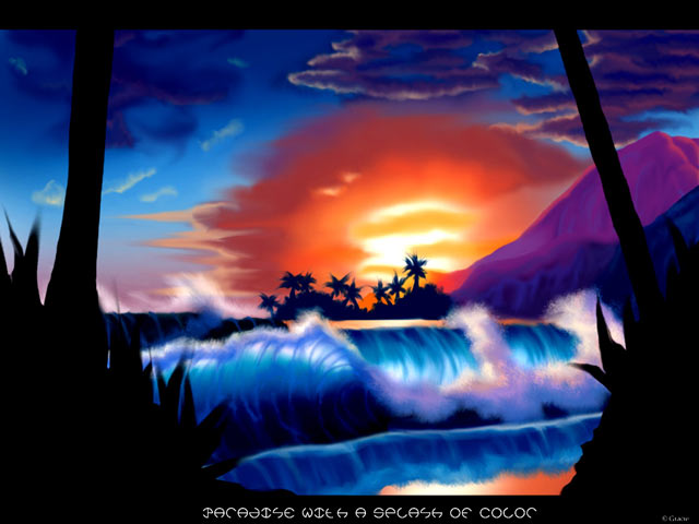 Hawaii sunrise artwork computer graphic online art gallery for Online art gallery paintings