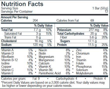 Life Plus SMARTbar ingredients